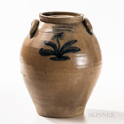 Cobalt-decorated Stoneware Covered Jar