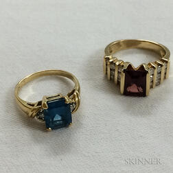 14kt Gold, Garnet, and Diamond Ring and a 14kt Gold Blue Topaz, and Diamond Ring