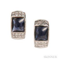 18kt White Gold, Iolite, and Diamond Earrings