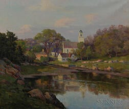 Melbourne H. Hardwick (American, 1857-1916)      Quiet New England Village and Cove
