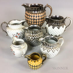 Seven Quilted Silver Lustre Ceramic Jugs