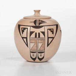 Contemporary Hopi Polychrome Pottery Lidded Jar