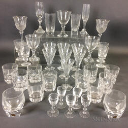 Thirty-seven Colorless Glass Tableware Items