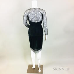 Oscar de la Renta Black Silk Cocktail Dress with Lace Overlay