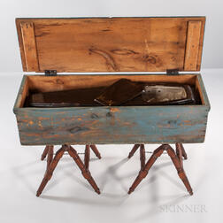 Odd Fellows Coffin, Papier-mache Skeleton Bust, and Blue-painted Storage Box