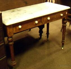 Victorian White Marble-top Cherry Washstand.