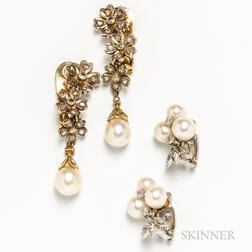 Two Pairs of 18kt Gold, Cultured Pearl, and Diamond Earclips