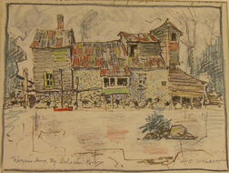 Framed Pastel and Marker on Paper/Board View, Warrensburg, N.Y.      Sohon River