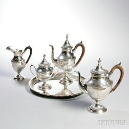 Four-piece Portuguese .833 Silver Tea Service with an Associated Silver-plate Tray