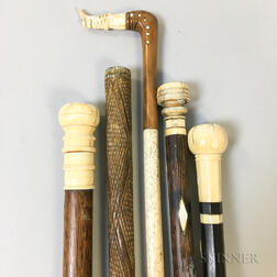 Five Wood and Whalebone Canes