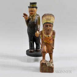 Polychrome Carved Wood Native American Figure and a Man with a Cane