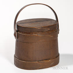 Brown-painted Oval Lidded Pail