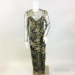 Oscar de la Renta Black Silk Gown with Gold Lace Overlay