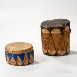 Two Taos Polychrome Wood and Hide Drums