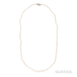 Natural Pearl and Diamond Necklace, Cartier