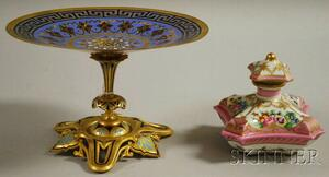 Old Paris Porcelain Perfume Bottle and Enameled Bronze Compote