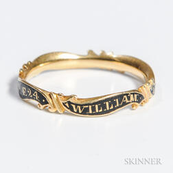 William Livermore Enamel and Gold Mourning Ring