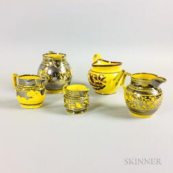 Five Yellow-glazed Lustre-decorated Ceramic Jugs