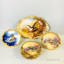 "Ten-piece Set of Limoges ""Coronet"" Hand-painted Gamebird-decorated Porcelain Tableware.     Estimate $200-400"