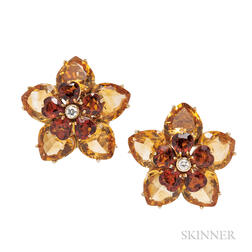 18kt Gold and Citrine Flowerhead Earclips