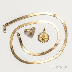 18kt Gold and Diamond Brooch, 14kt Gold Chain, and 14kt Gold Saudi Pendant