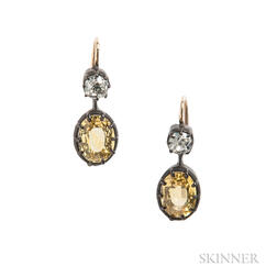 Yellow Sapphire and Old Mine-cut Diamond Earrings