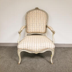 Louis XVI-style Gray-painted and Upholstered Fauteuil