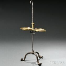 Wrought Iron and Brass Table-top or Hanging Lamp Stand
