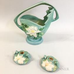 Roseville Pottery Pitcher and a Pair of Candlesticks