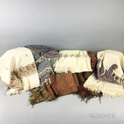 Six Paisley Shawls and Shawl Fragments