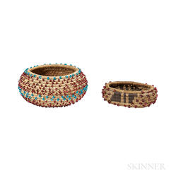 Two Miniature Beaded Pomo Baskets