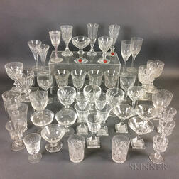 Forty-six Pieces of Colorless Glass Stemware