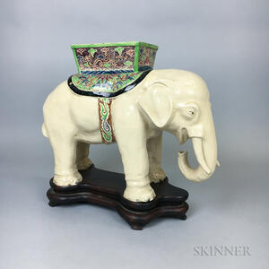 Glazed Ceramic Elephant on Stand