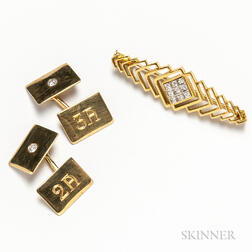 18kt Gold and Diamond Bar Brooch and Pair of 14kt Gold and Diamond Cuff Links