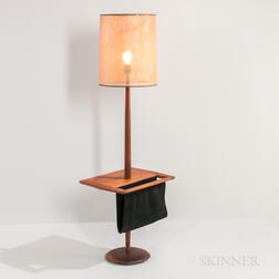 Walnut Floor Lamp with Magazine Sling