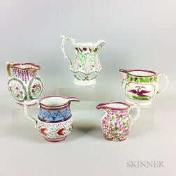Five Pink Lustre Ceramic Jugs