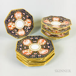 Set of Nine Davenport Imari-palette Hexagonal Plates and Three Compotes
