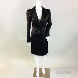 Oscar de la Renta Chocolate Brown Silk Suit