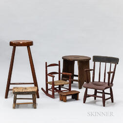 Tall Splay-leg Stool, a Child's Potty Chair, a Red-painted Child's Rocker, and Three Other Stools.     Estimate $200-300
