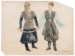 Fedor Fedorovich Fedorovsky (Russian, 1883-1955)      Costume Sketches for Prince Igor   (Opera by Borodin)