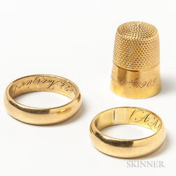 Two 18kt Gold Bands and a 14kt Gold Thimble