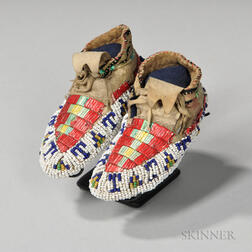 Lakota Beaded and Quilled Hide Infant's Moccasins