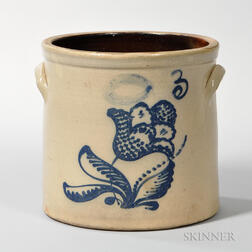 Three-gallon Cobalt-decorated Stoneware Crock