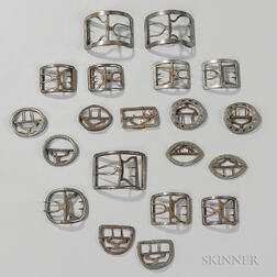 Group of Mostly Plain Steel Shoe and Knee Buckles