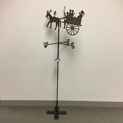 Wrought and Sheet Iron Donkey Cart Weathervane on Stand