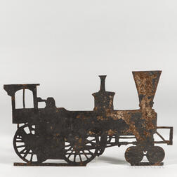 Black-painted Sheet Iron Locomotive Weathervane