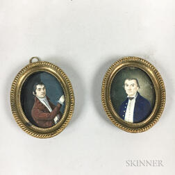 Two Framed Portrait Miniatures of Gentlemen