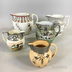 Five Silver Lustre Ceramic Jugs