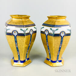 Pair of Pickard Hand-painted Porcelain Vases