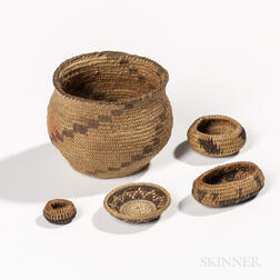 Five Miniature California Coiled Baskets
